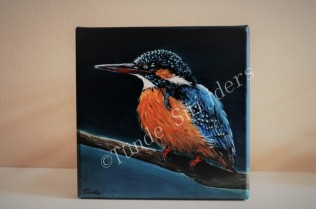 IJsvogel in avondlicht, 20x20 cm. Verkocht.