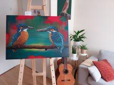 IJsvogelpaar, 70x100 cm, vraagprijs €875