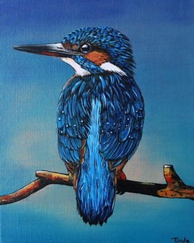 IJsvogel op tak, 30x24 cm, prijs op aanvraag