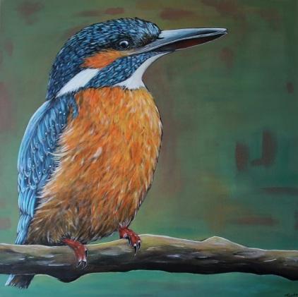 IJsvogel Vrouwtje, 60x60 cm, prijs op aanvraag