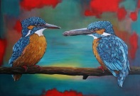 IJsvogelpaar 70x100 cm, prijs op aanvraag
